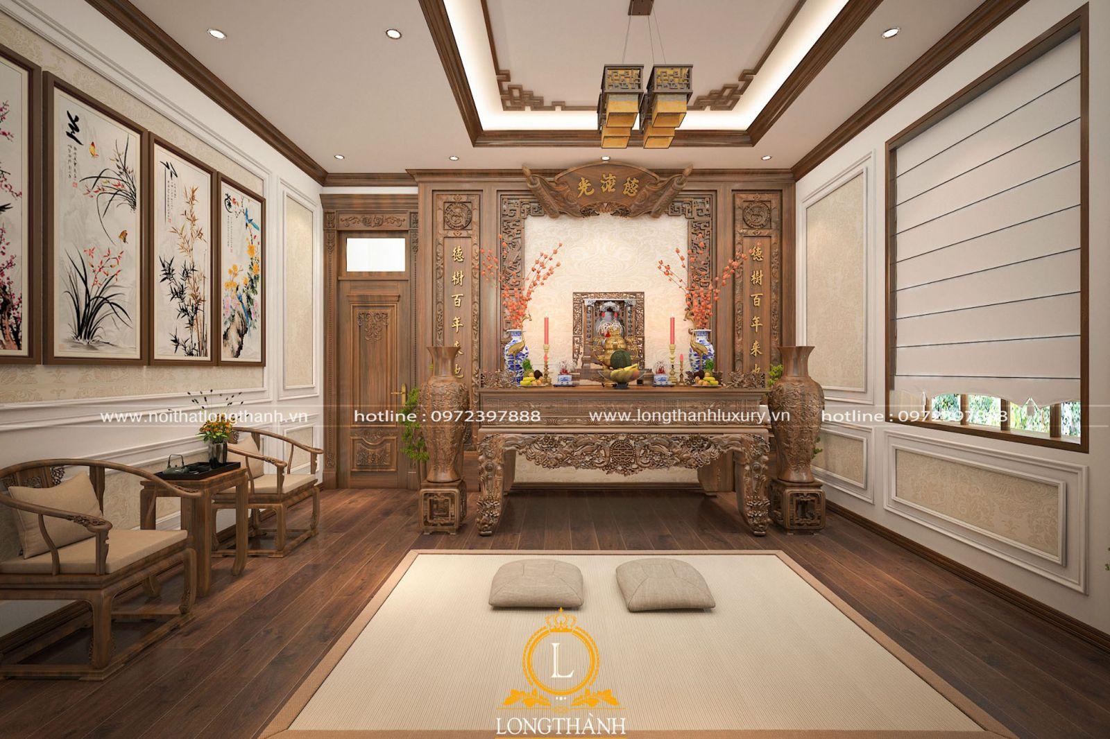 Thiết kế nội thất phòng thờ tân cổ điển sang trọng cho biệt thự liền kề
