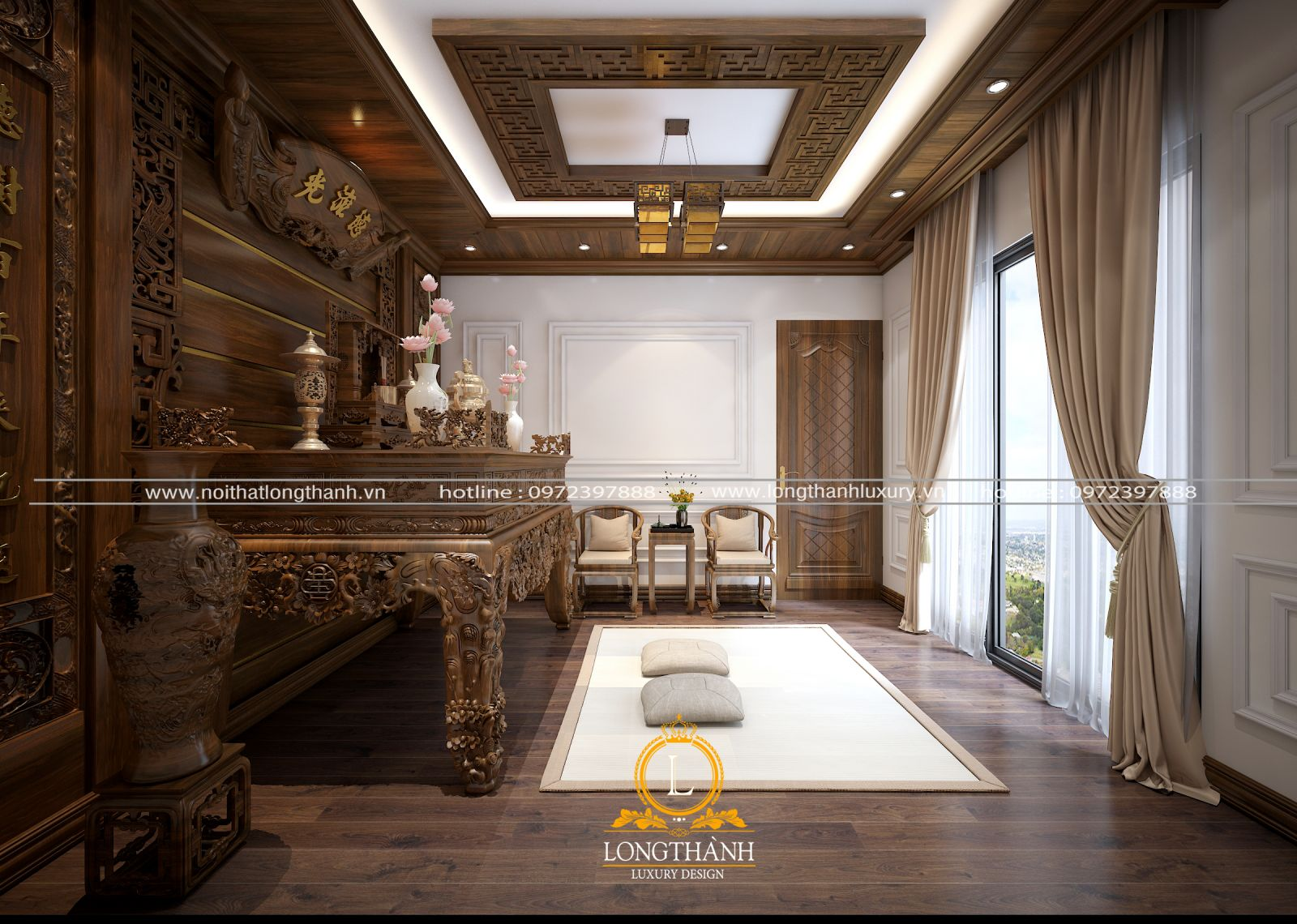 Thiết kế phòng thờ phong cách tân cổ điển cho nhà biệt thự rộng