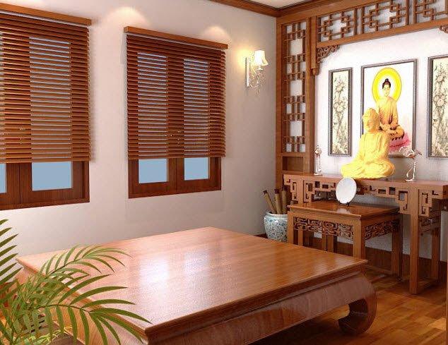 Thiết kế bàn thờ đơn giản thường sử dụng các chất liệu gỗ tự nhiên và kim loại