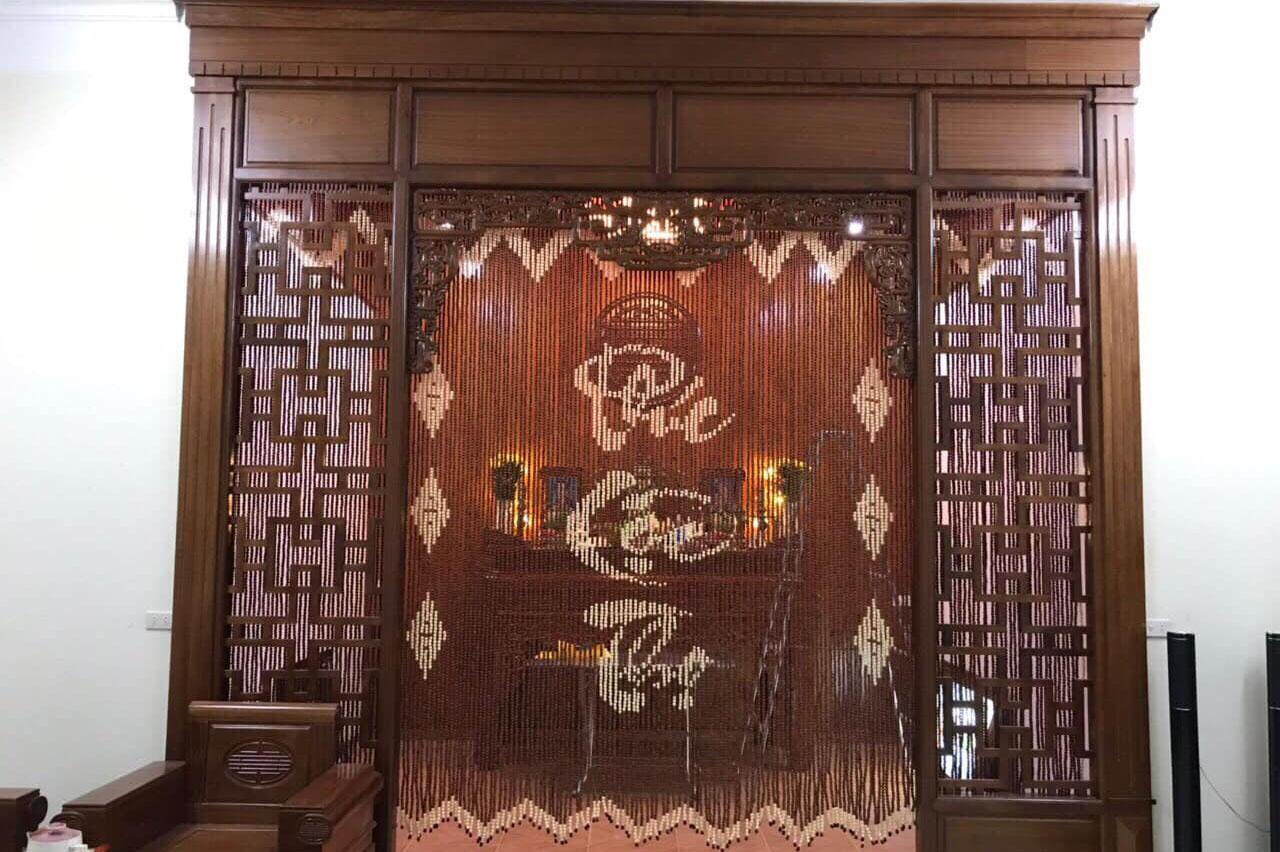 Rèm phòng thờ bằng hạt gỗ đẹp