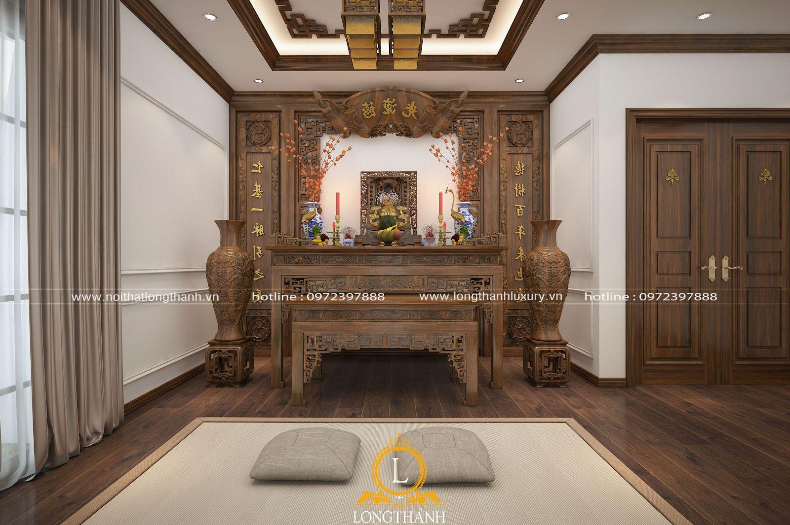 Rèm phòng thờ bằng vải cho không gian thêm phần riêng tư
