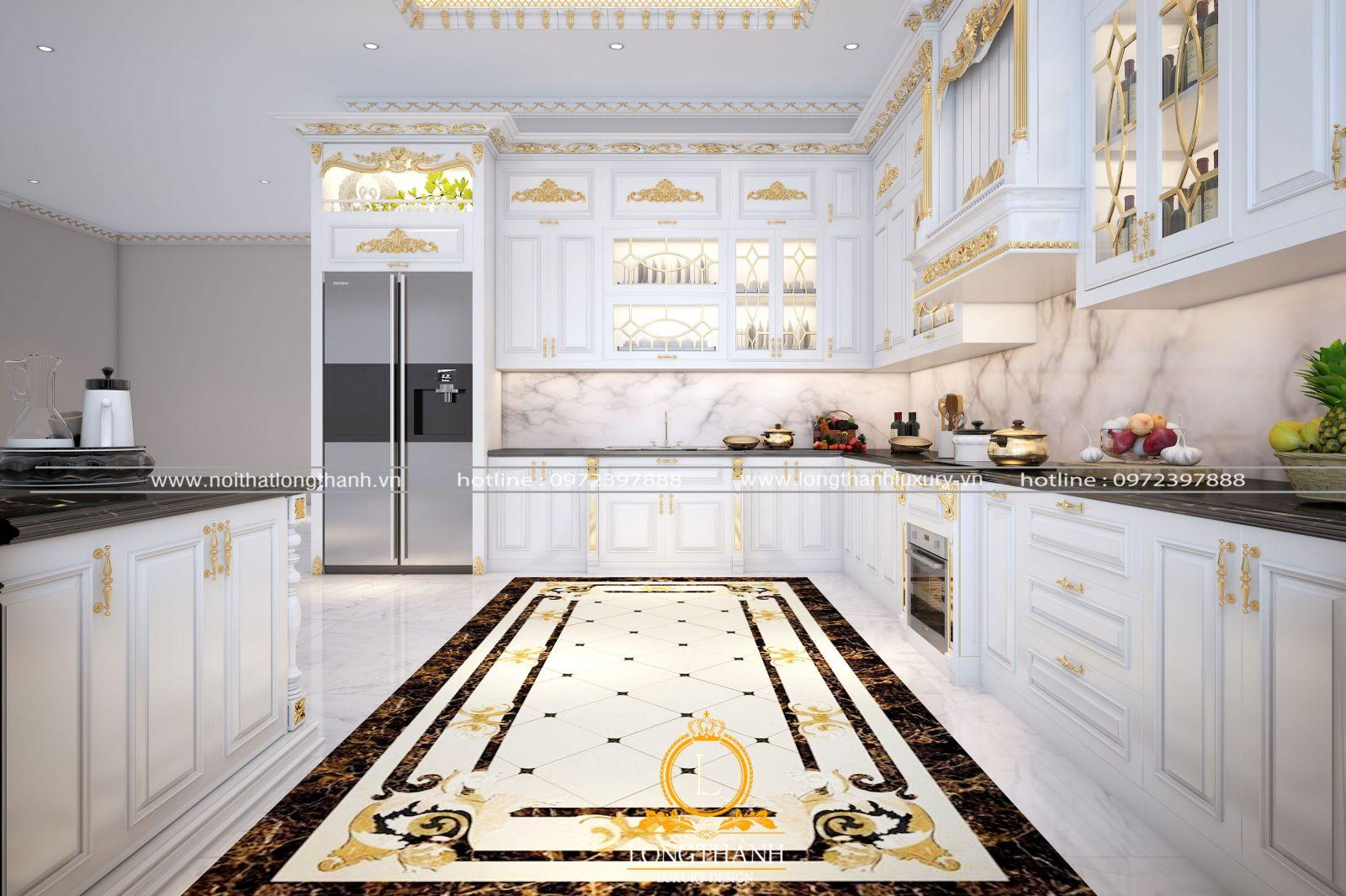 Sắc trắng của tủ bếp tân cổ điển cho không gian sang trọng