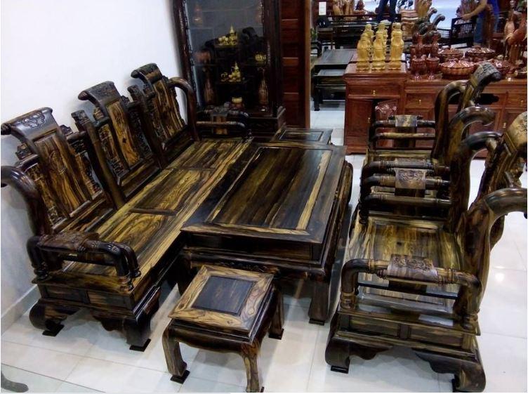 Bộ bàn ghế sofa gỗ mun sang trọng hiện đại màu sắc trơn bóng