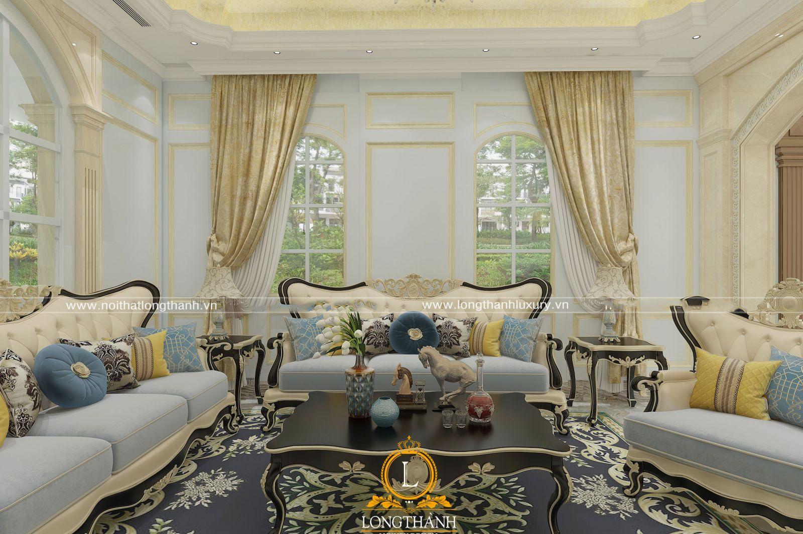 Sản phẩm sofa nỉ sang trọng cho phòng khách biệt thự tân cổ điển