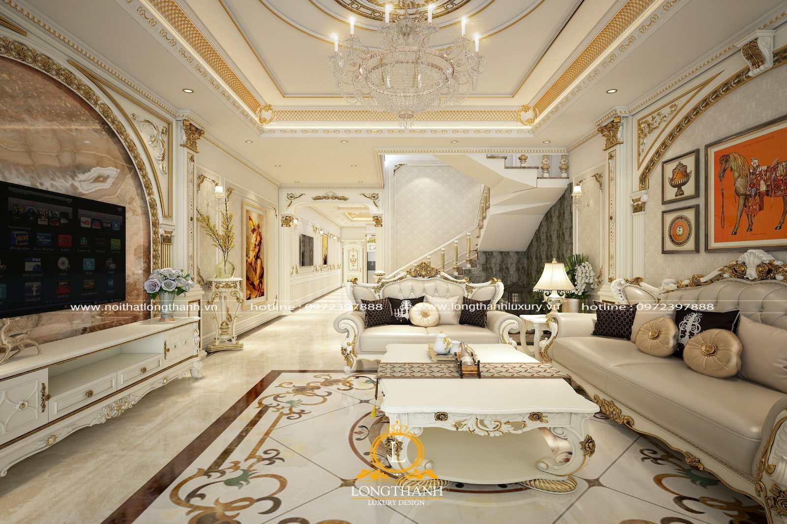 Sofa băng dài sang trọng cho phòng khách biệt thự