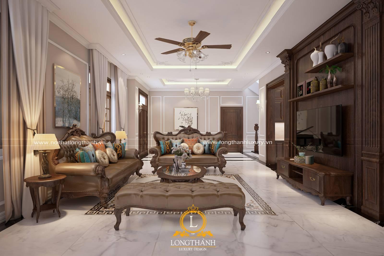 Sofa băng tân cổ điển bằng gỗ bọc da cho phòng khách biệt thự