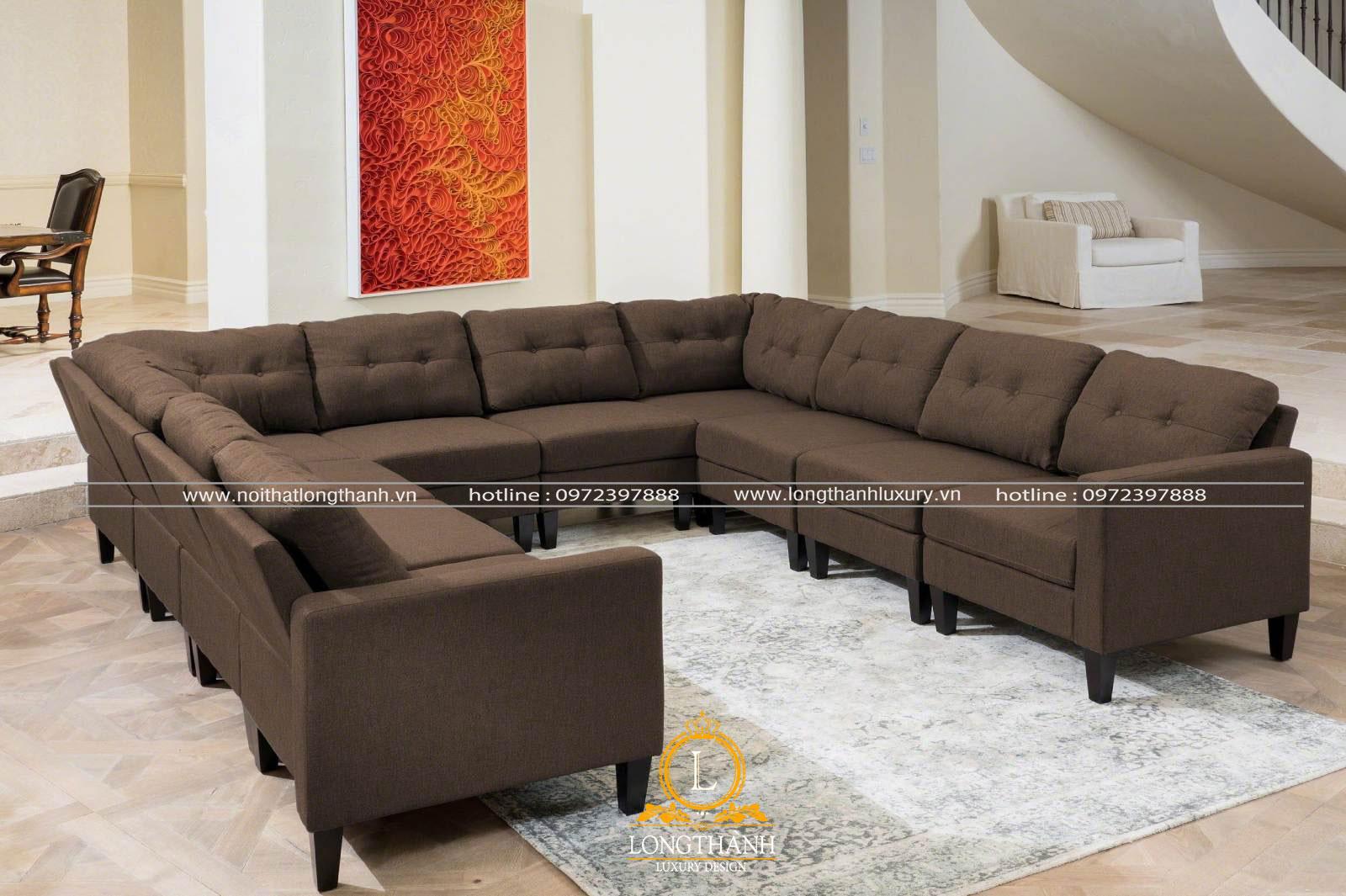 Sofa chữ u làm từ vải dùng cho phòng khách hiện đại đơn giản