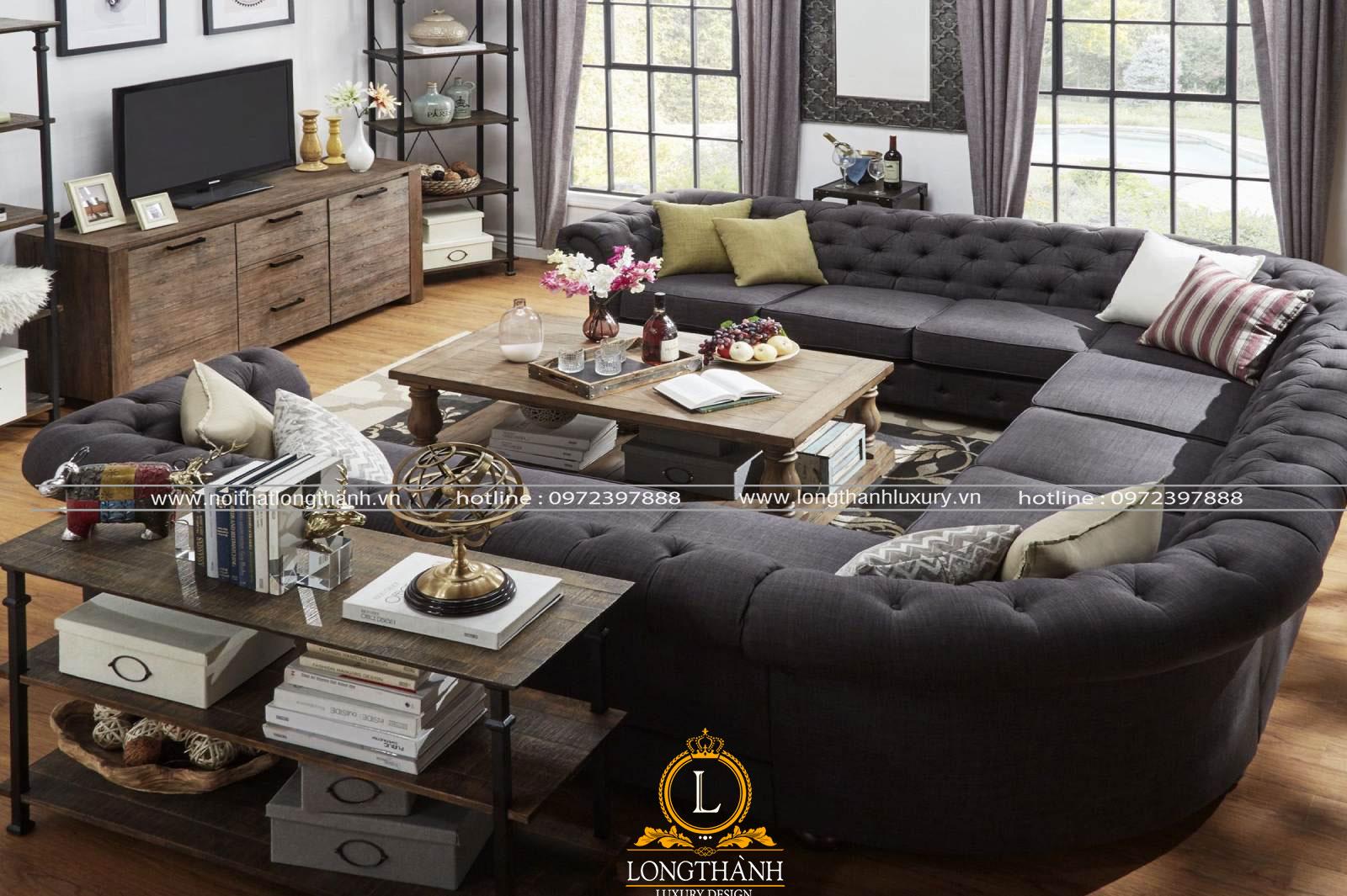 Sofa nhung phòng khách được thiết kế theo hình chữ u