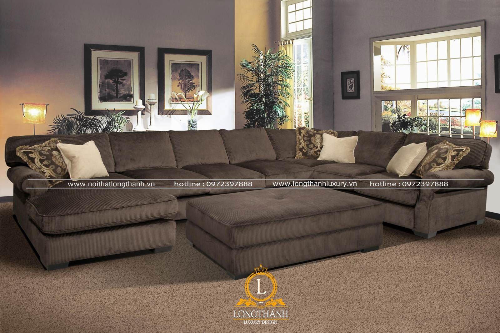 Sofa chữ u theo kiểu hiện đại được làm từ chất liệu vải và nỉ