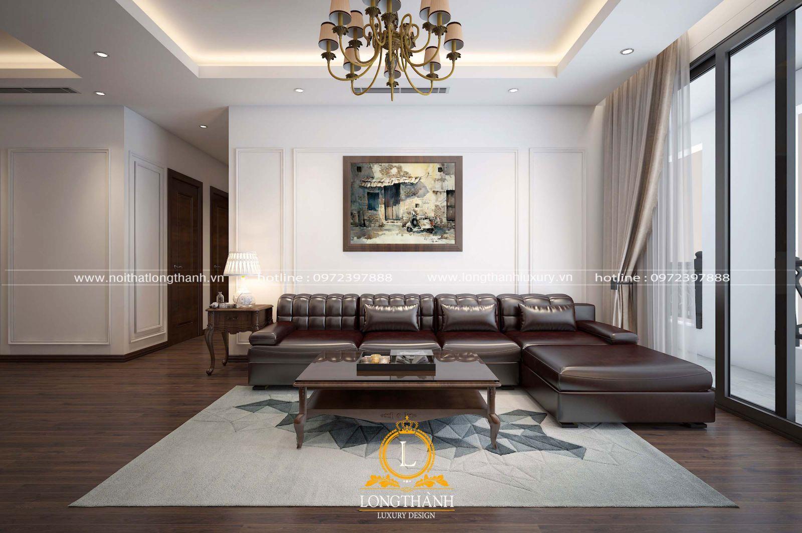 Sofa da cho phòng khách chung cư hiện đại