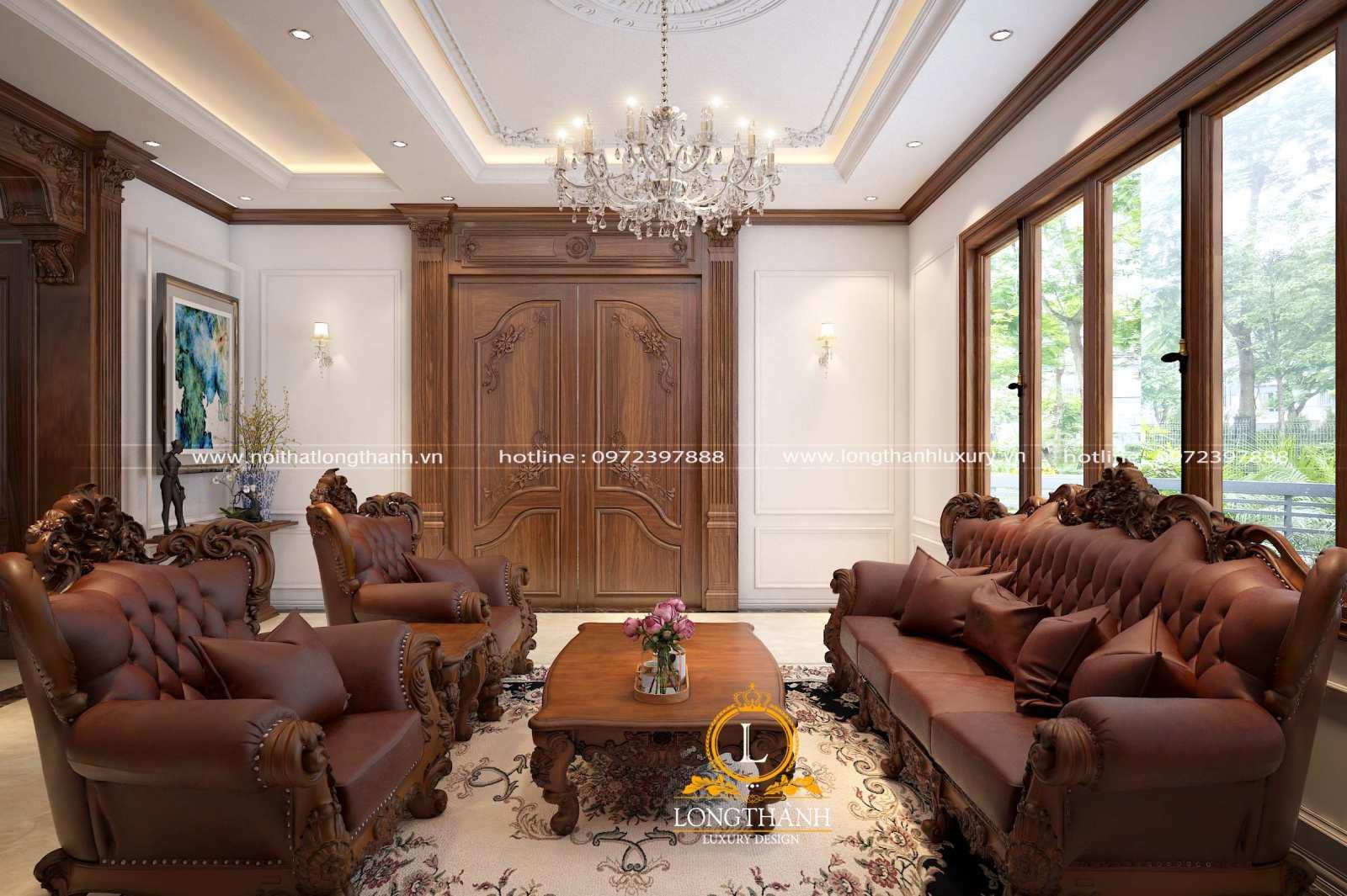 Sofa da tân cổ điển cho phòng khách sang trọng đẳng cấp