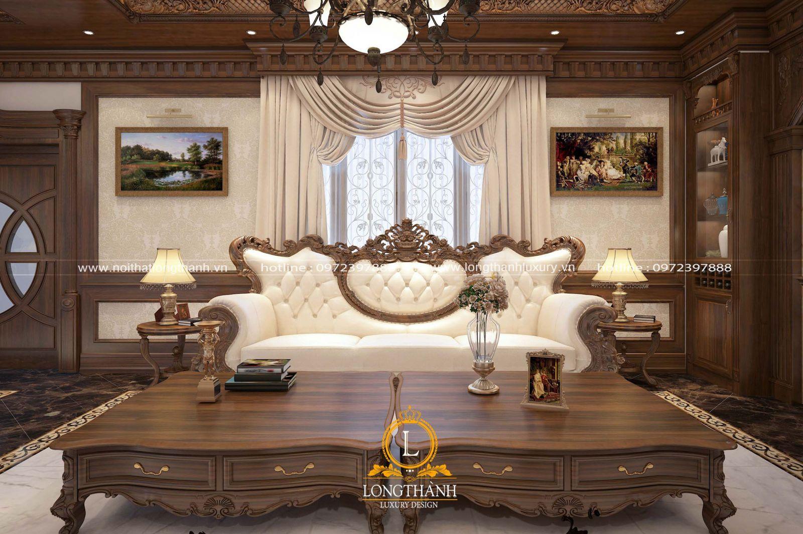 Sofa phòng khách dài với hoa văn tân cổ điển bắt mắt