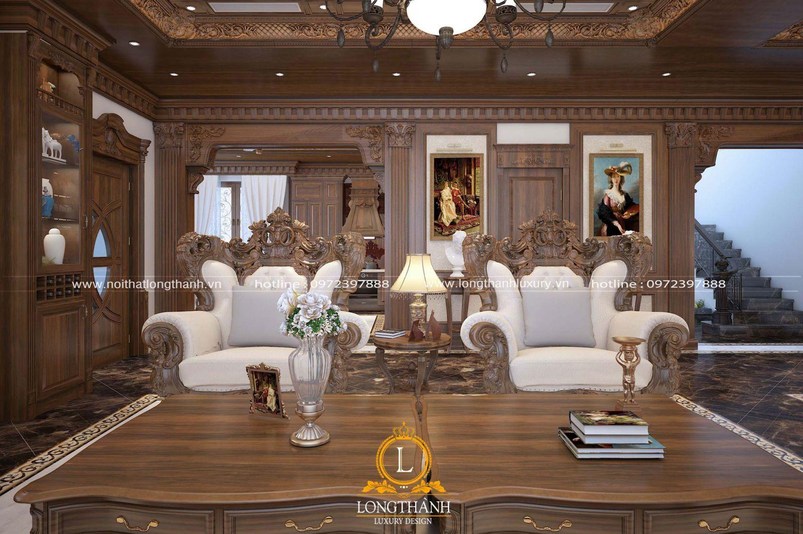 Sofa tân cổ điển gỗ gõ đỏ được coi là sang trọng nhất