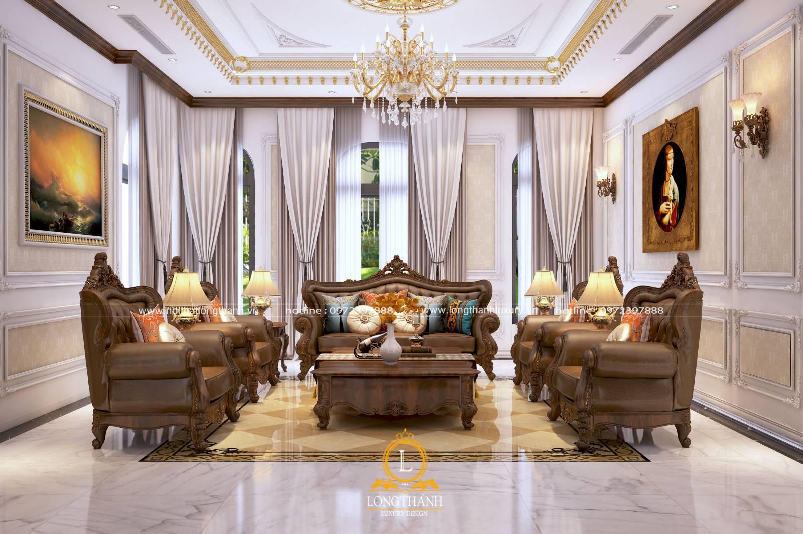 Sofa gỗ cho phòng khách có kích thước chủng loại đa dạng