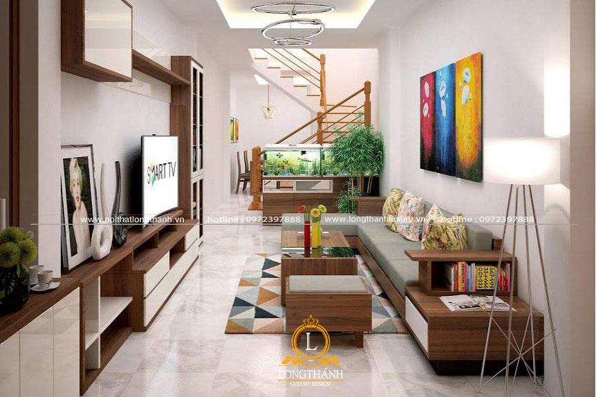 Thiết kế sofa gỗ cho phòng khách nhà phố hiện đại tiện nghi