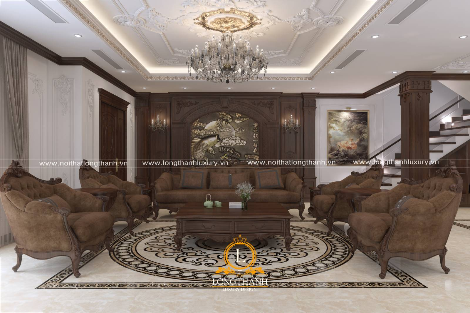 Sofa gỗ được bọc vải nỉ bên ngoài thêm phần sang trọng