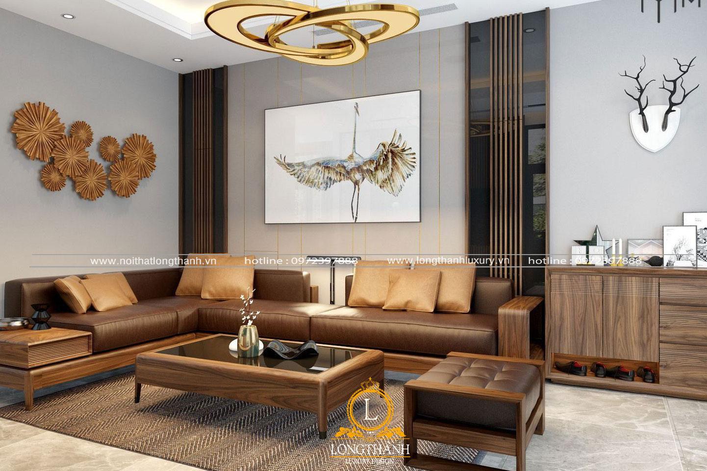 Sofa gỗ phòng khách đẹp hiện đại