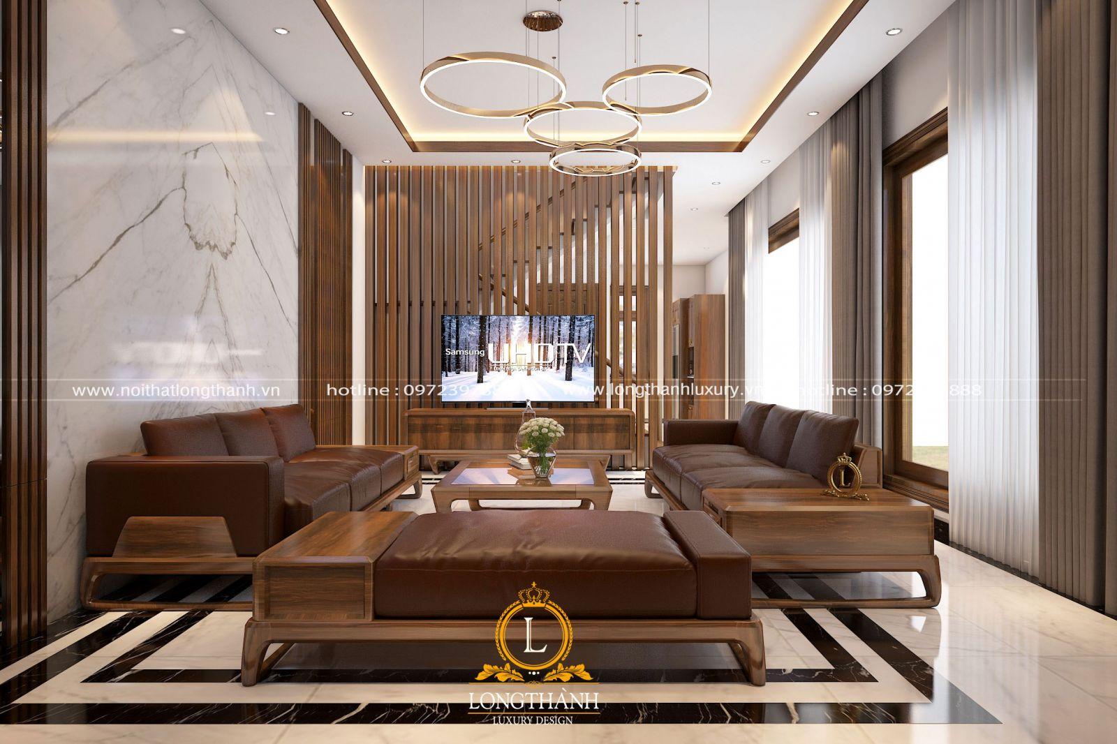 Phòng khách biệt thự với thiết kế hiện đại mang đến sự trẻ trung độc lạ