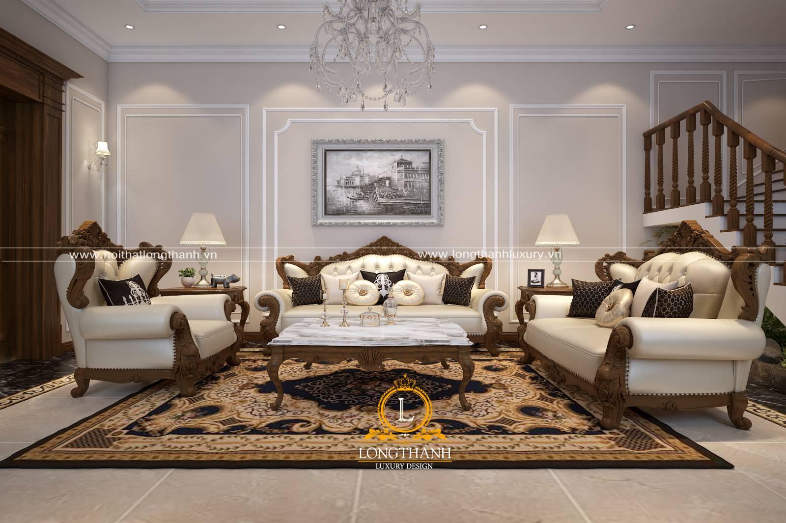 Sofa gỗ tự nhiên bọc da đem lại cảm giác thoải mái cho người dùng