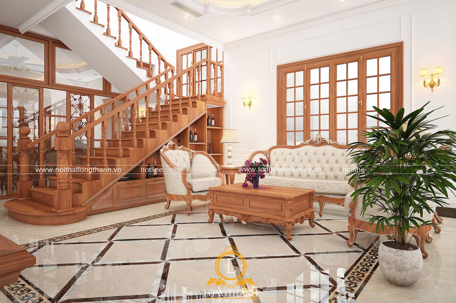 Sofa gỗ tự nhiên cao cấp cho phòng khách
