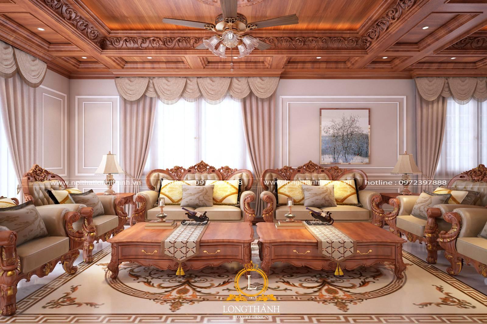 Sofa gỗ tự nhiên cao cấp đem lại vẻ đẹp sang trọng cho không gian phòng khách