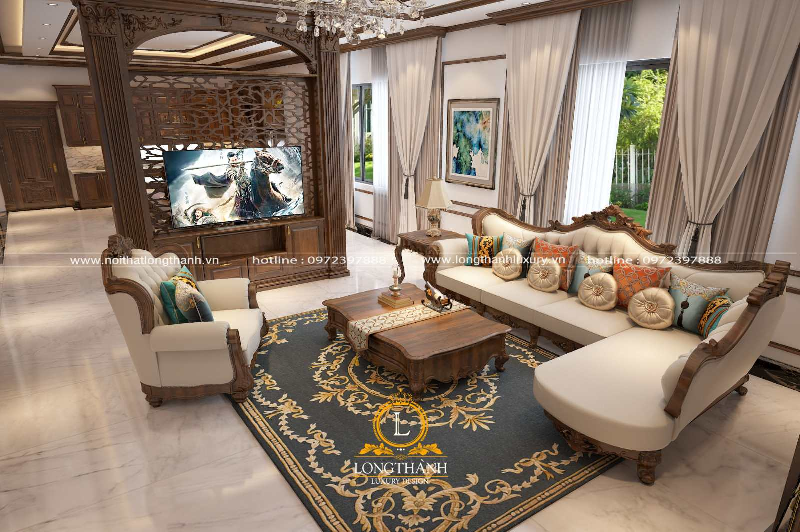 Sofa góc L cho phòng khách rộng phong cách tân cổ điển