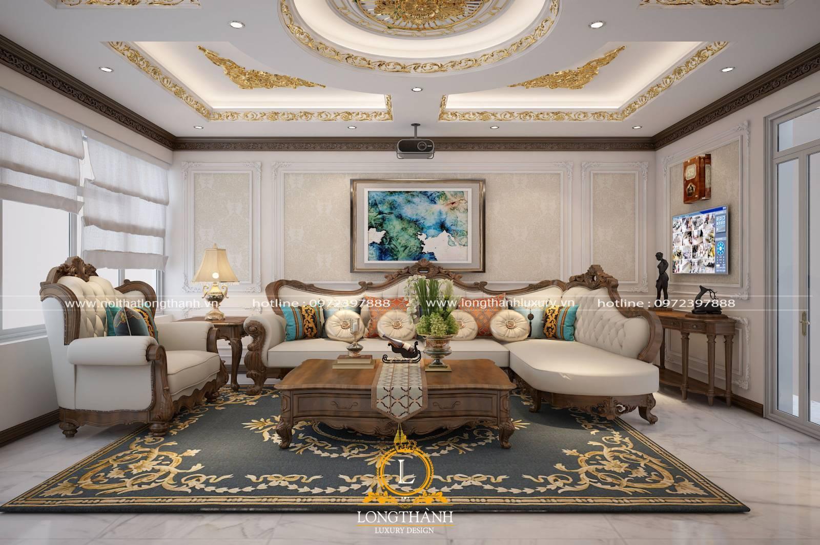 Sofa góc chữ L gỗ tự nhiên cao cấp