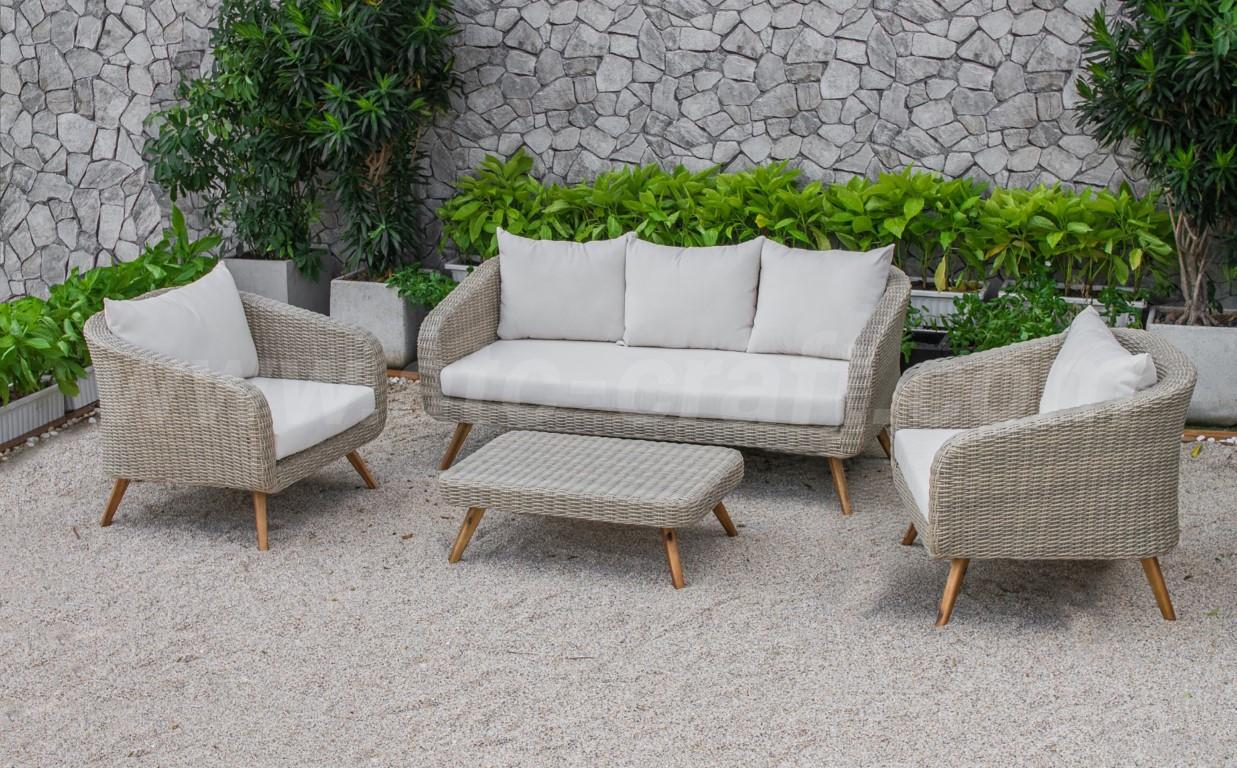 Bộ bàn ghế sofa ngoài trời với thiết kế đơn giản hiện đại