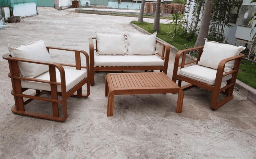 Bộ bàn ghế sofa ngoài trời gỗ tự nhiên đơn giản tiện lợi