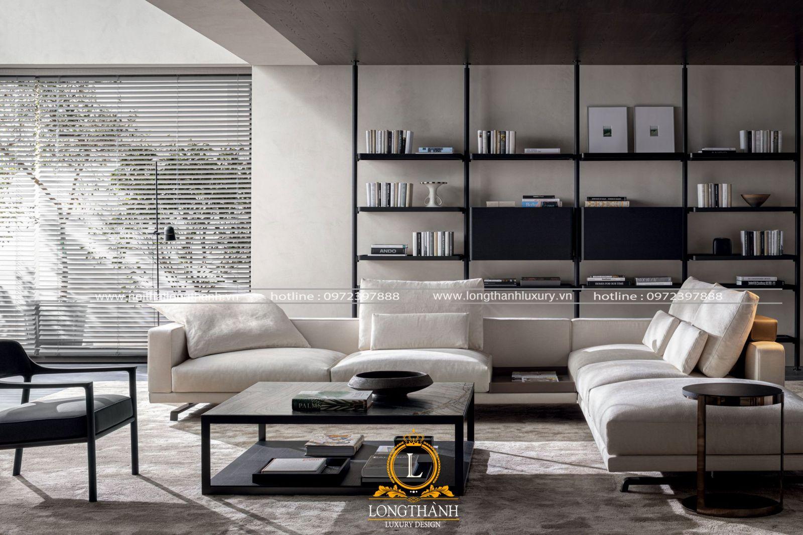 Sofa nỉ đệm cho phòng khách hiện đại
