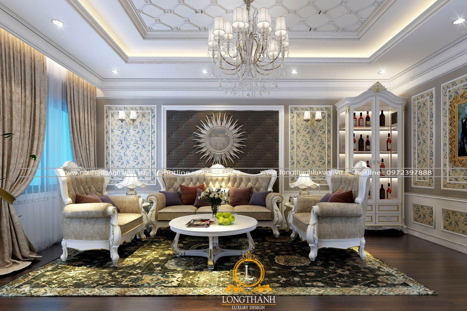 Bộ sofa nhung được thiết kế theo phong cách tân cổ điển nhẹ nhàng