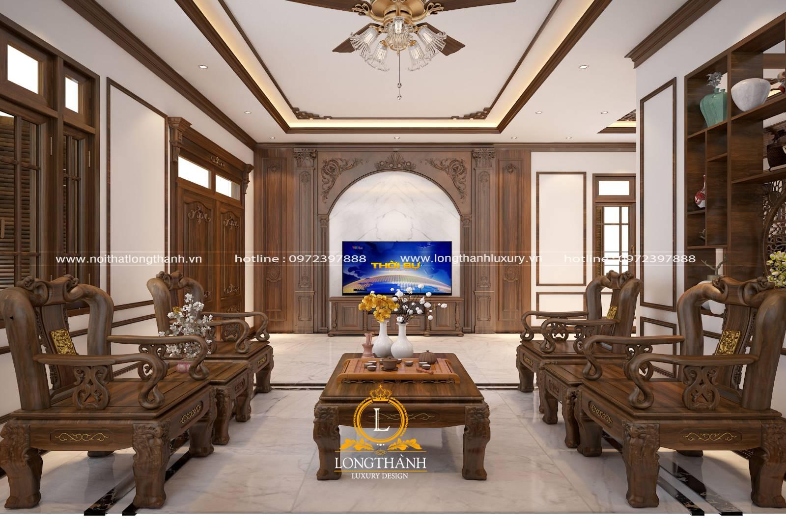 Sofa phòng khách cổ điển với chất liệu gỗ cao cấp