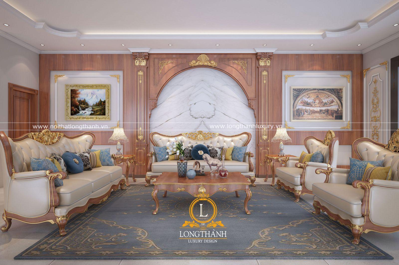 Sofa phòng khách có tone màu đồng nhất với các món đồ nội thất khác