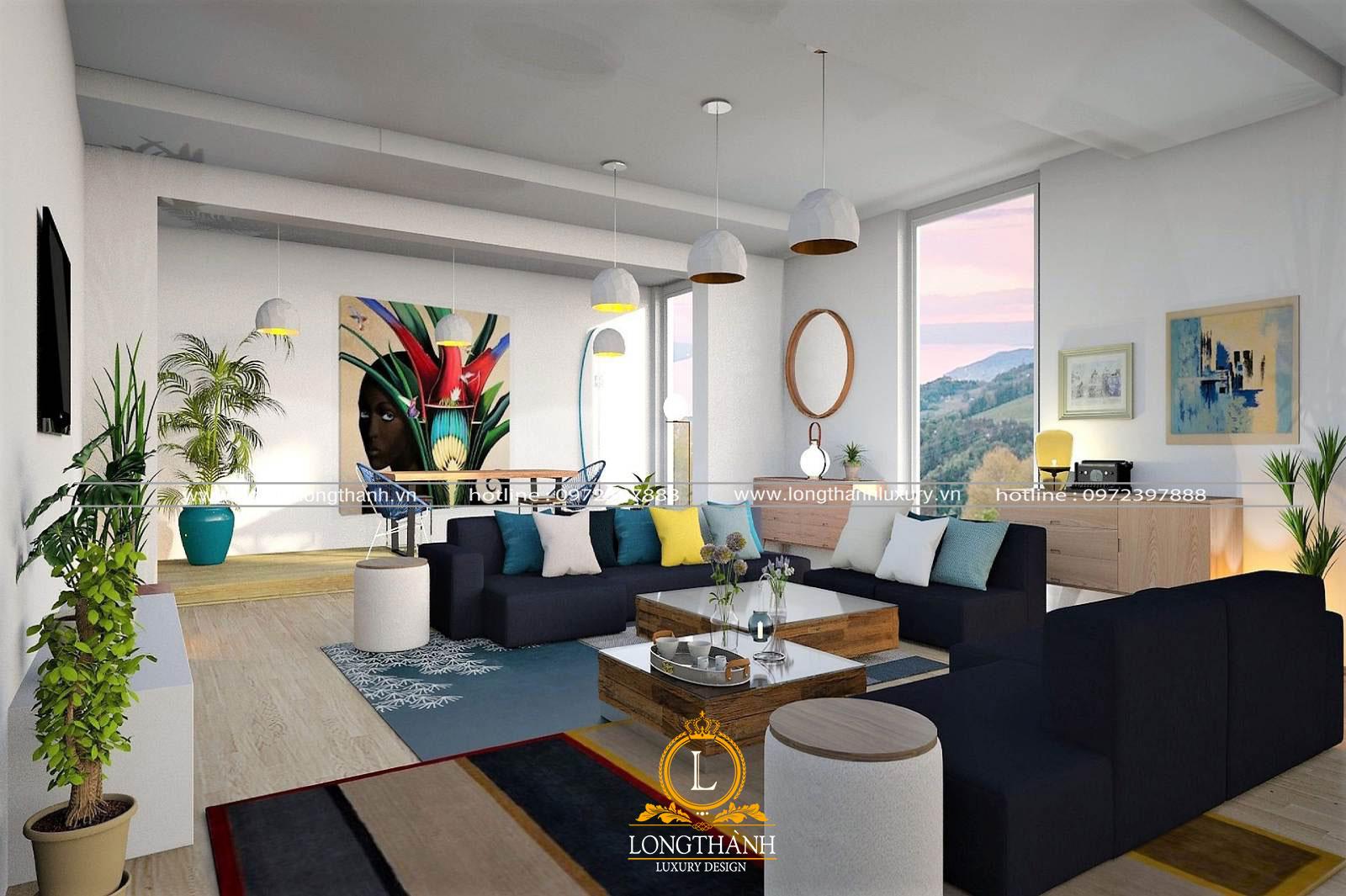 Sofa chữ u phong cách hiện đại cho chung cư làm từ vải nỉ