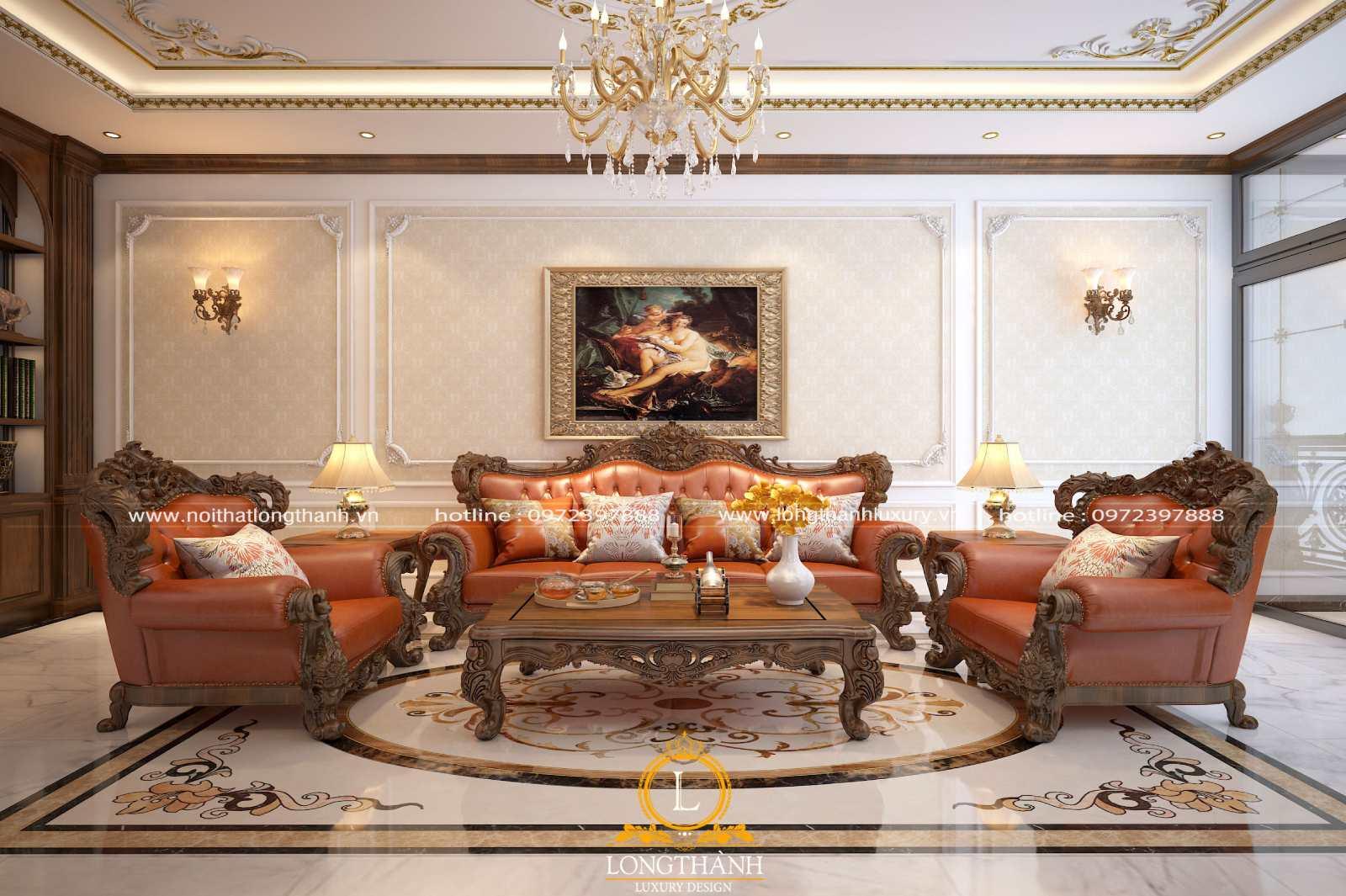 Sofa phòng khách làm từ gỗ tự nhiên và da cao cấp