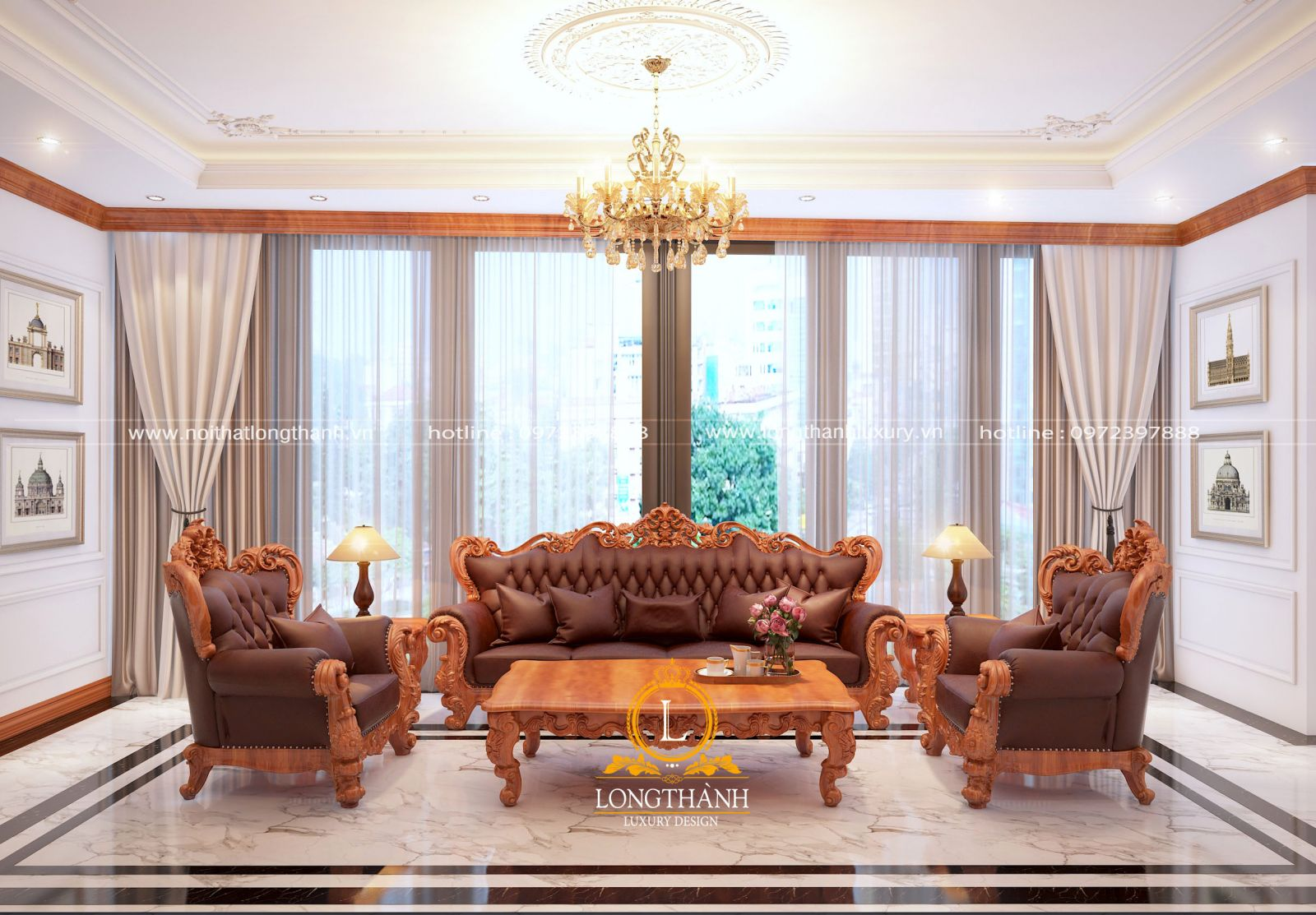 sofa tân cổ điển phòng khách lộng lẫy, quý phái mang phong cách Châu Âu