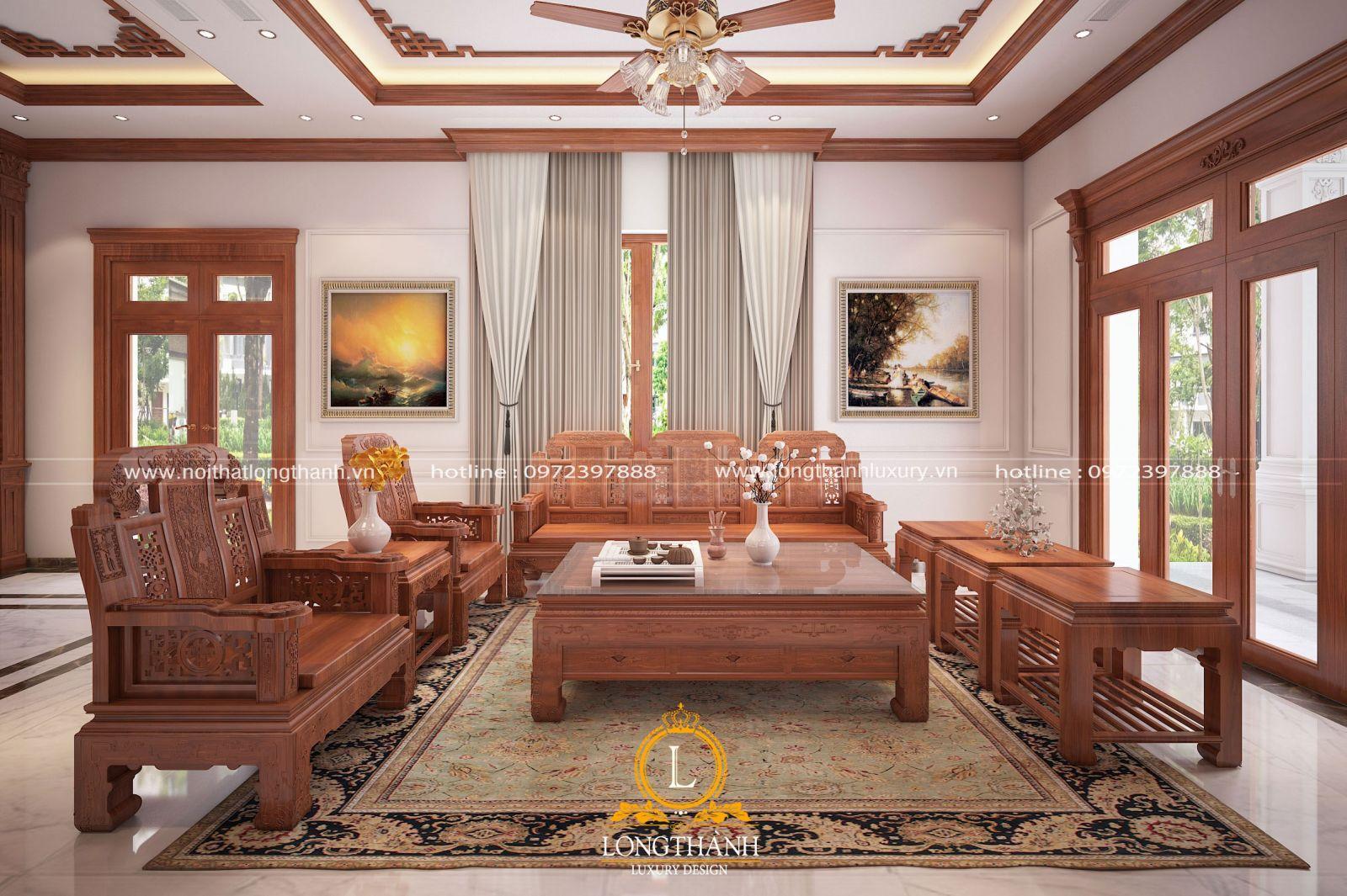 Sofa phòng khách theo kiểu cổ điển hình chữ u làm từ gỗ tự nhiên