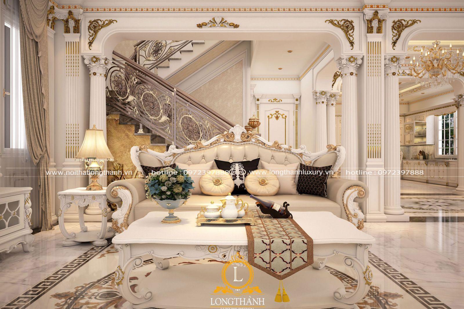 mẫu sofa tân cổ điển sơn trắng dát vàng đẹp tinh tế