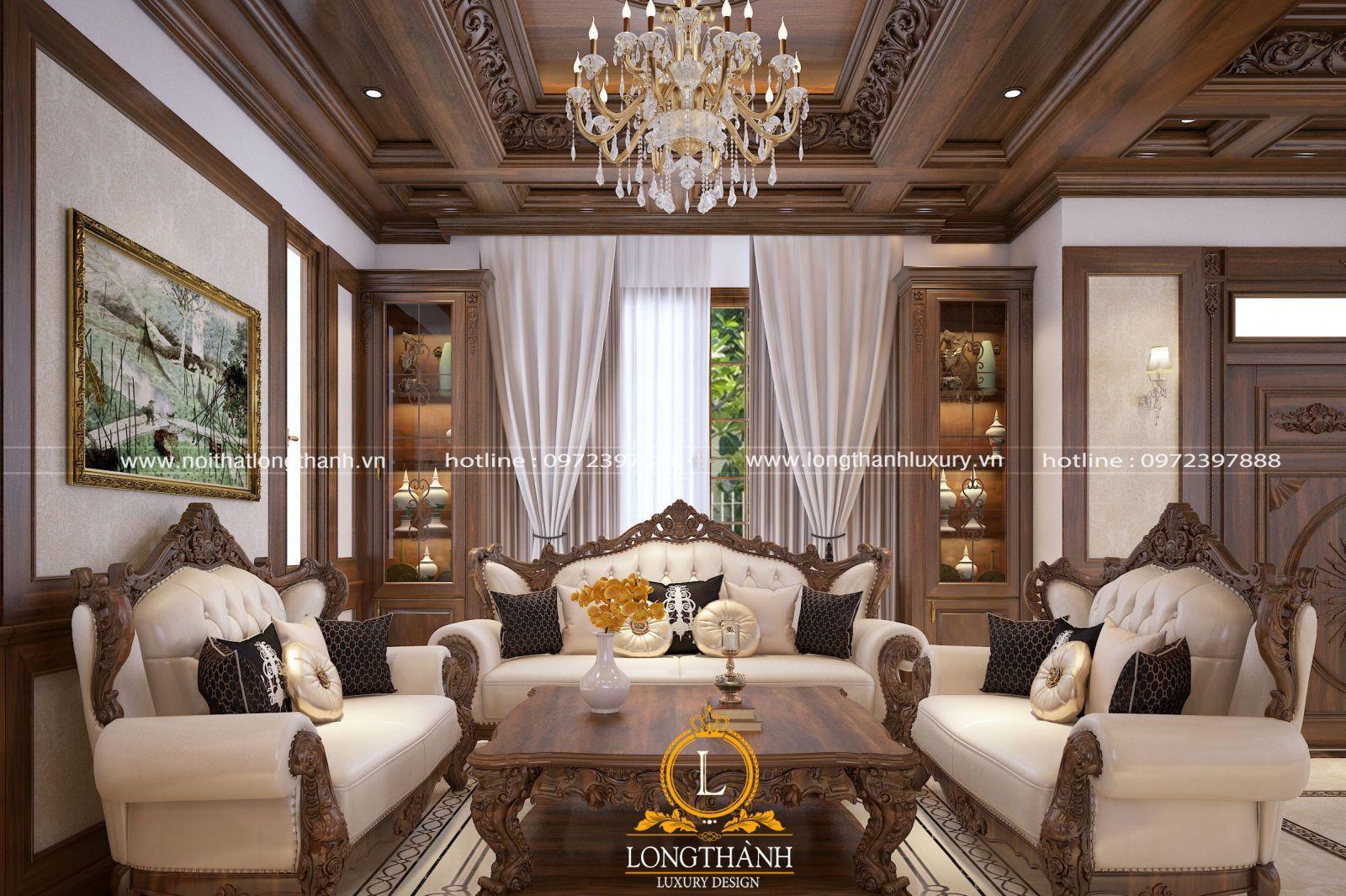 Sofa tân cổ điển cho phòng khách rộng