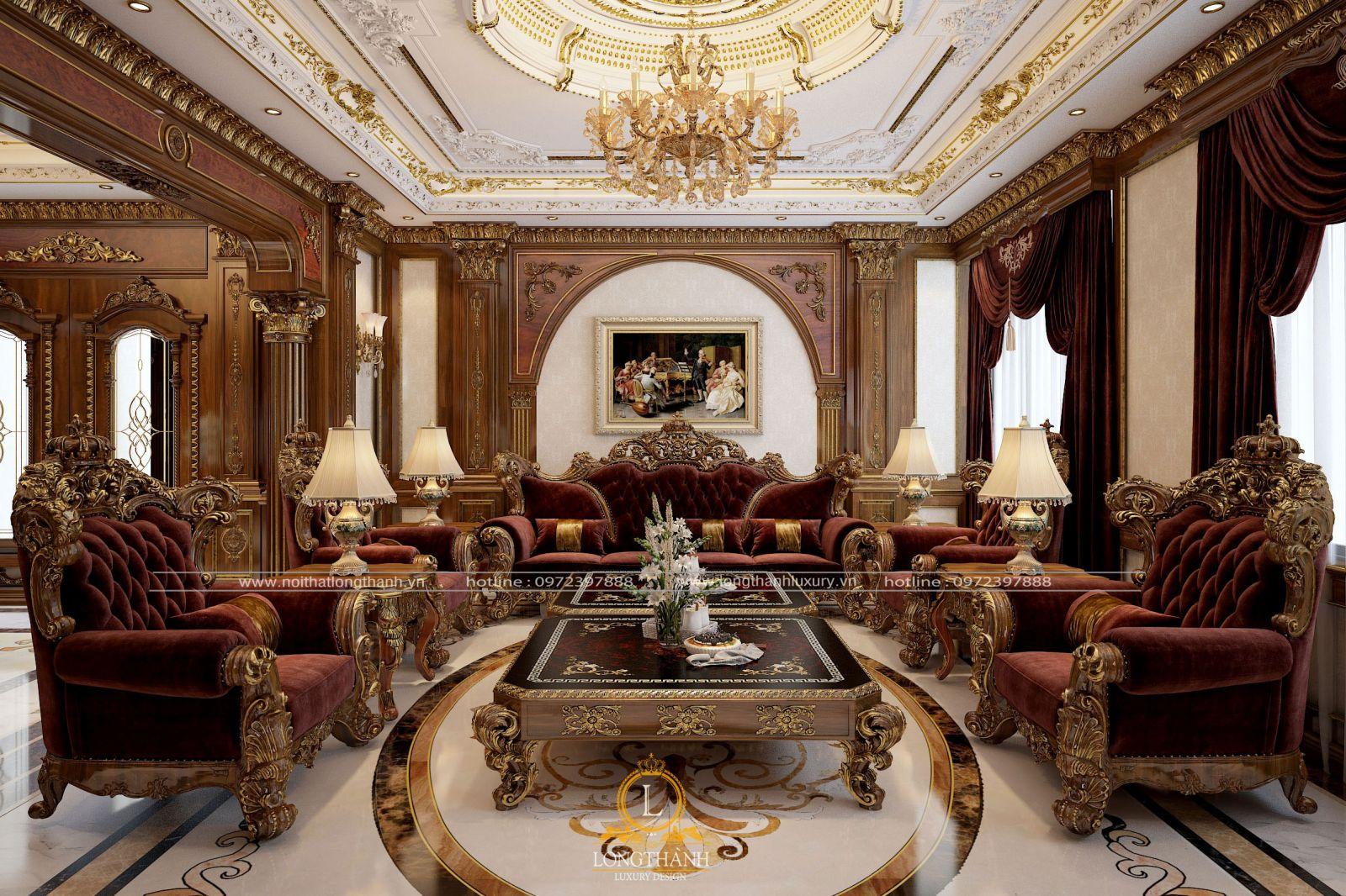 Bộ Sofa tân cổ điển với chất liệu gỗ Gõ đỏ bọc vải gấm cao cấp