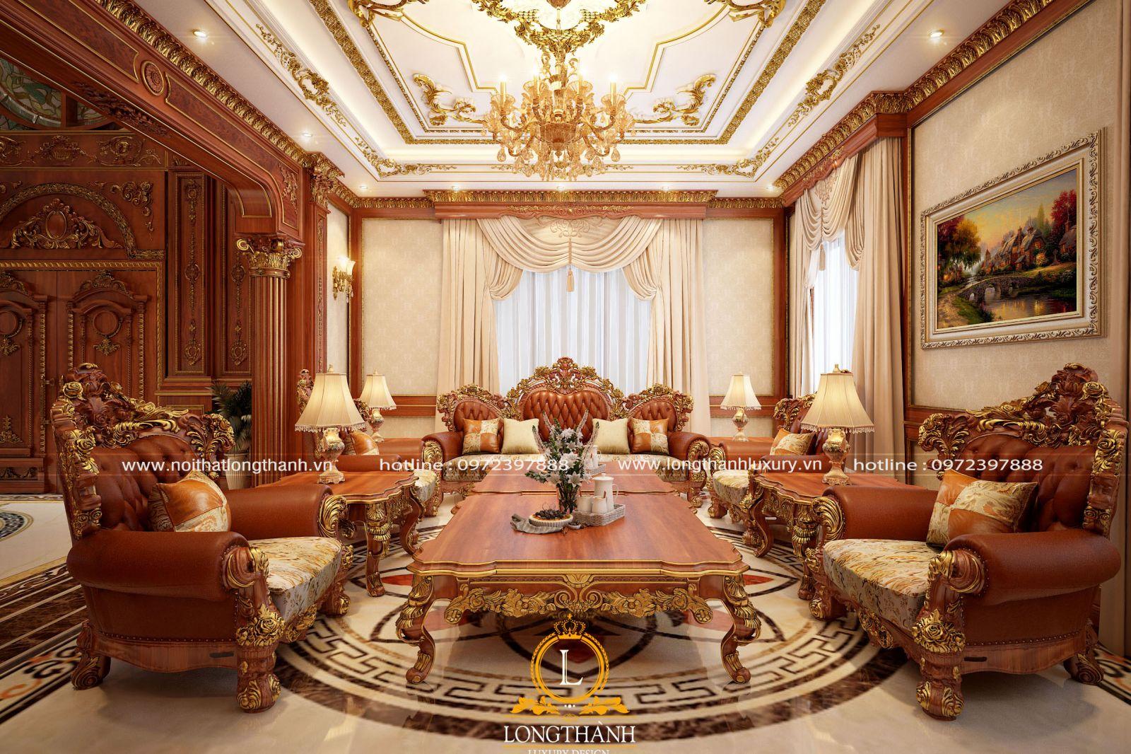Sofa tân cổ điển đồ sộ cho biệt thự