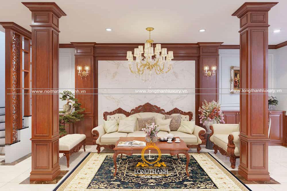 Mẫu sofa tân cổ điển đẹp được thiết kế linh hoạt trong phòng khách