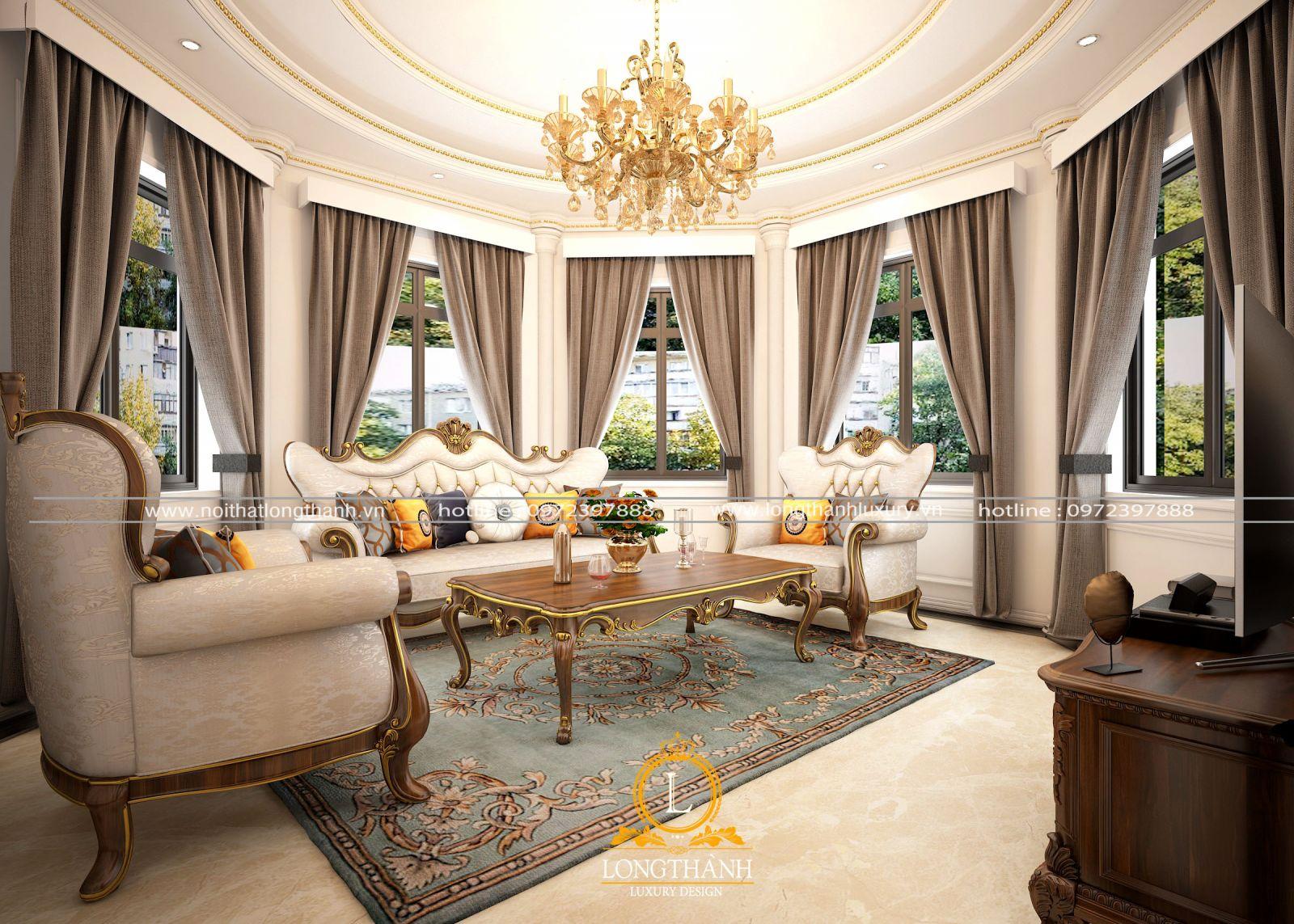 Bộ sofa tân cổ điển gam màu sáng sang trọng