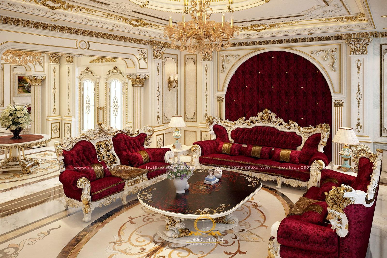 Bộ sofa tân cổ điển mạ vàng tông màu lạnh trắng, đỏ sang trọng hòa hợp với không gian nội thất