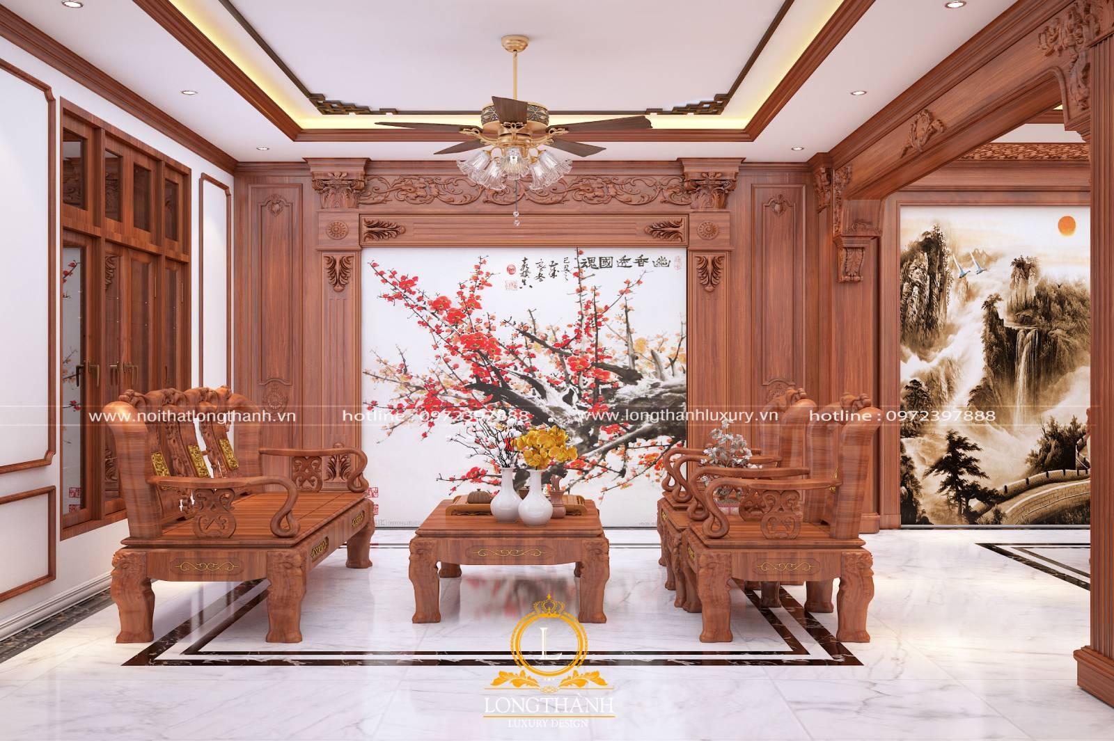 Mẫu sofa văng gỗ tự nhiên thiết kế theo phong cách tân cổ điển cho phòng khách biệt thự