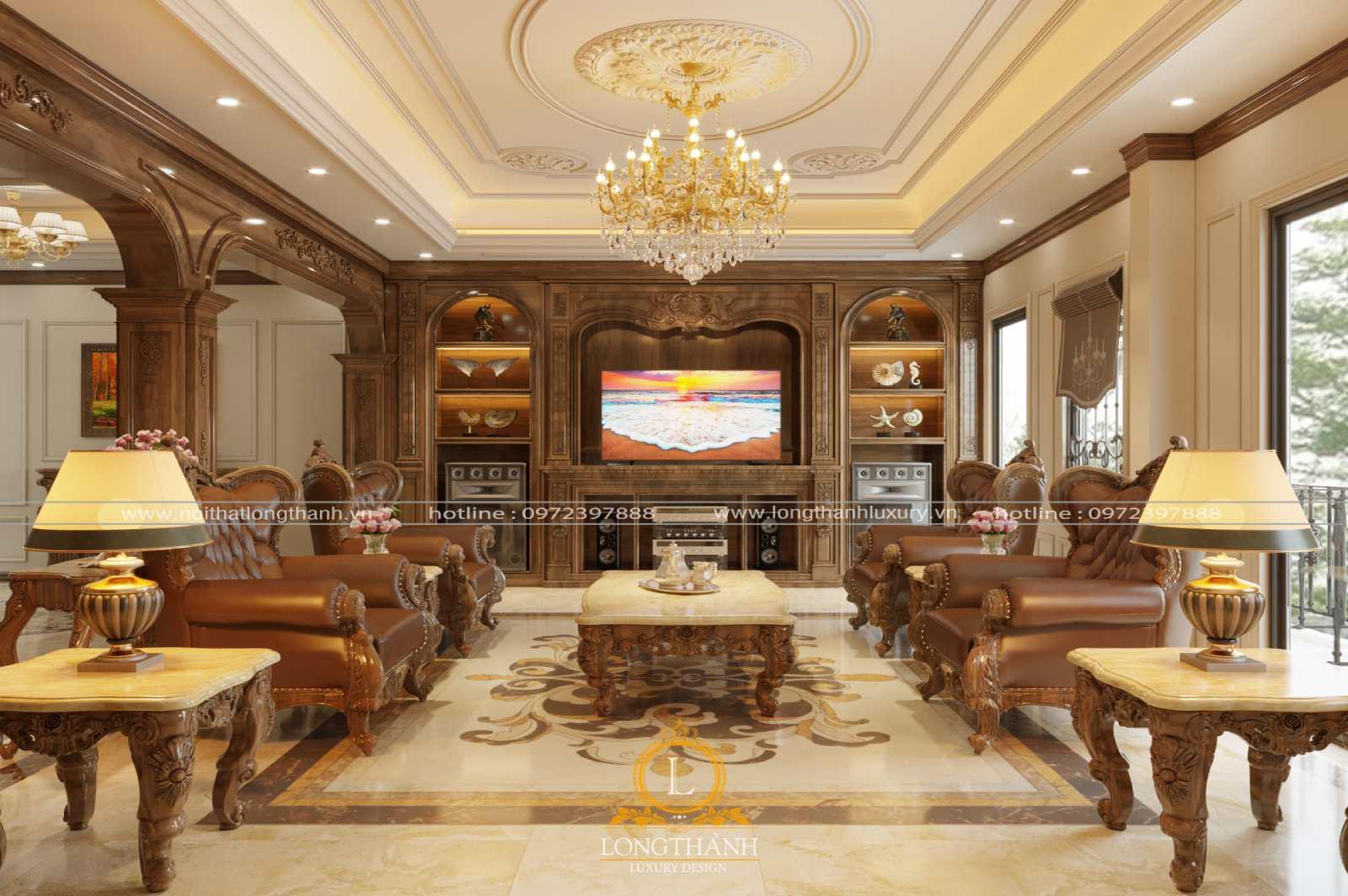 Sofa văng ngắn đơn giản cho phòng khách tân cổ điển