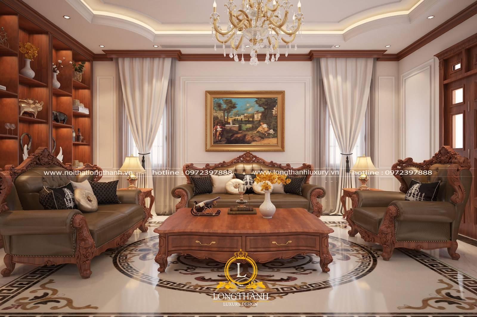 Sofa văng phòng khách được làm từ gỗ bọc da tự nhiên