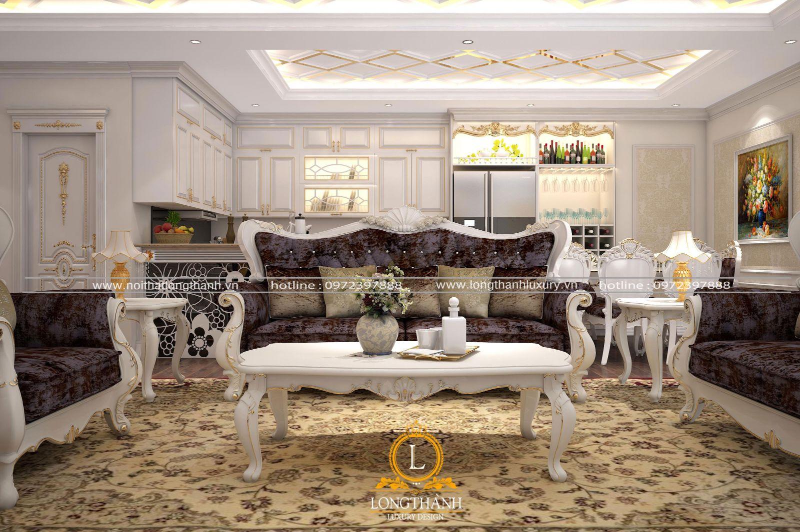 Bộ sofa gỗ tự nhiên sơn trắng mạ vàng đẳng cấp