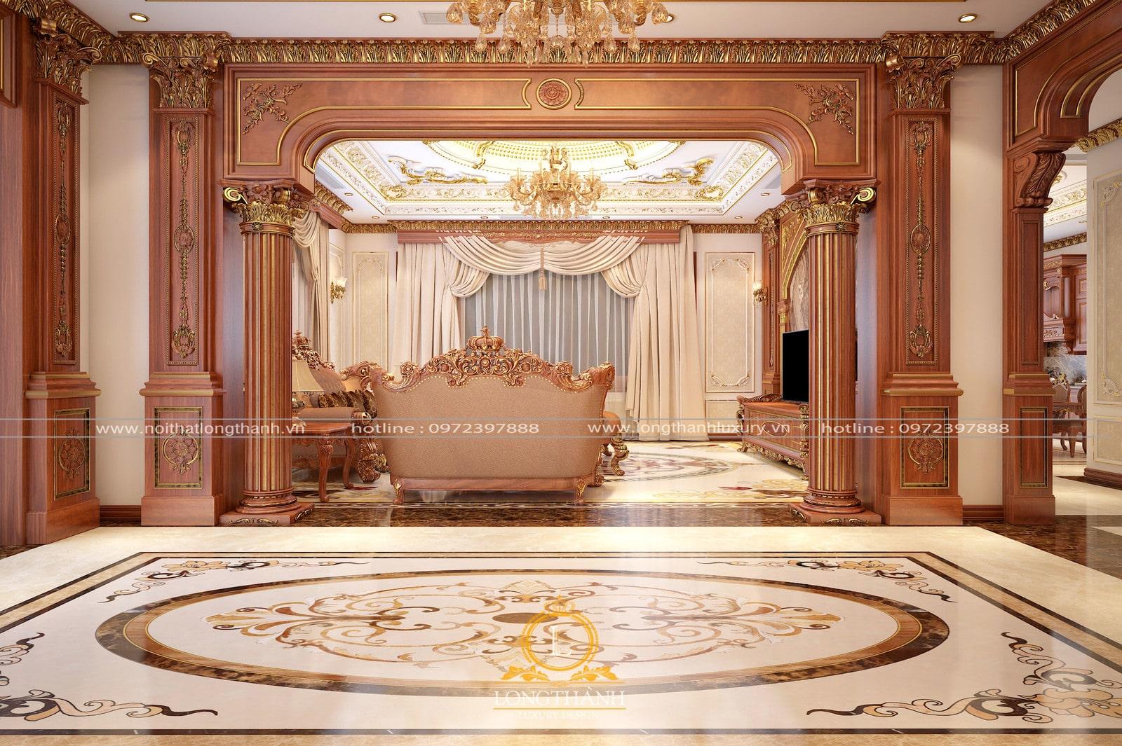 Dù nhìntrước hay nhìn sau thì bộ sofa tân cổ điển vẫn nổi bần bật giữa không gian