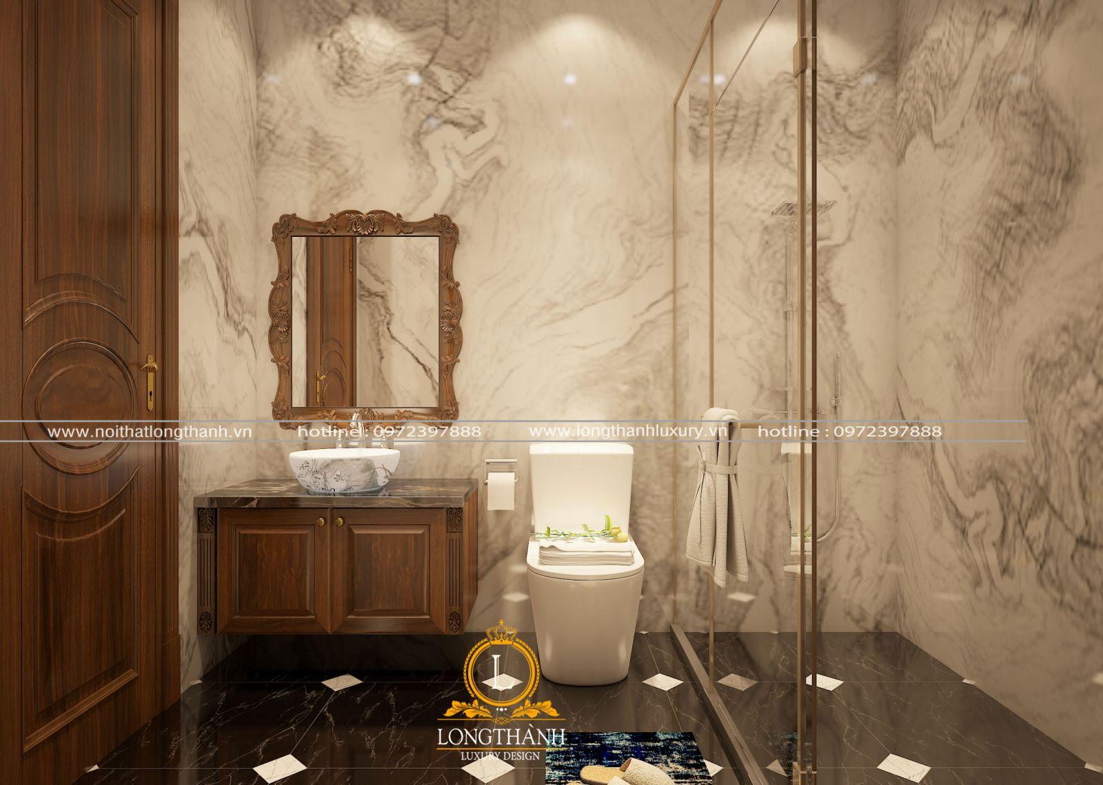 Sử dụng gỗ gõ đỏ cho phòng tắm tạo mầu sắc hài hòa, sang trọng